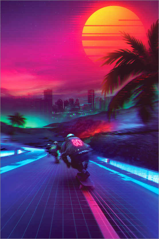 Premium-Poster Synthwave Midnight Outrun