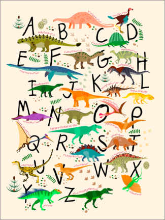 Leinwandbild  Dino-Alphabet - Kidz Collection
