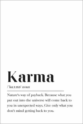 Holzbild  Karma Definition (Englisch) - Pulse of Art