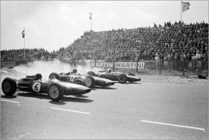 Leinwandbild  Jim Clark, Graham Hill and Bruce McLaren am Start, Zandvoort 1963