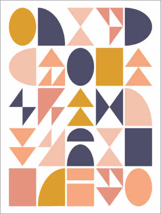 Wandsticker  Geometrische Formen - apricot and birch