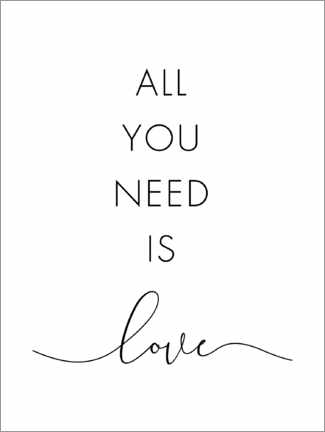 Alubild  All you need is love - Nouveau Prints