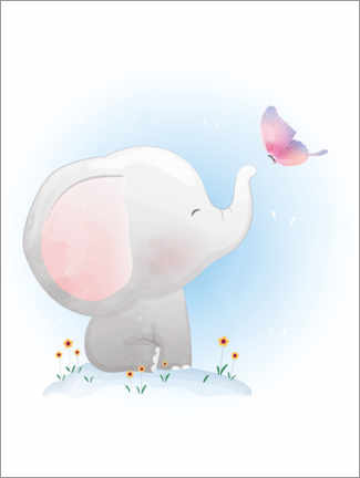 Acrylglasbild  Elefant und Schmetterling - Kidz Collection
