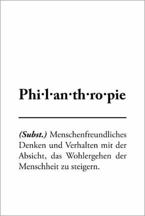 Holzbild  Philanthropie - Definition - Typobox