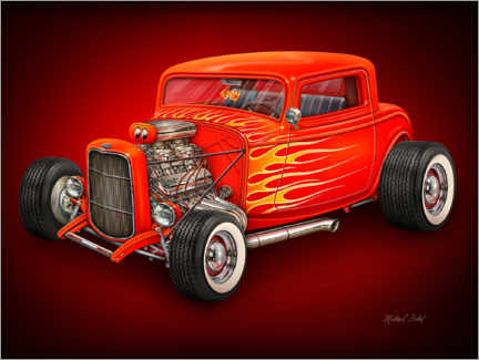 Leinwandbild  Roter Hot Rod - Michael Fishel