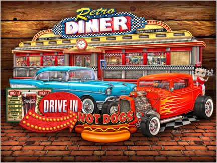 Hartschaumbild  Retro Diner - Michael Fishel