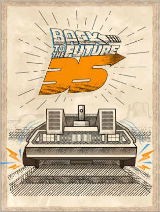 Gallery Print  DeLorean Vintage-Illustration