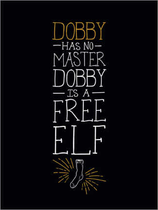 Hartschaumbild  Dobby has no master - Quote