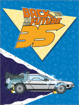 Hartschaumbild  DeLorean Retro Illustration