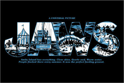 Wandsticker  Jaws - Perfect feeding ground, black