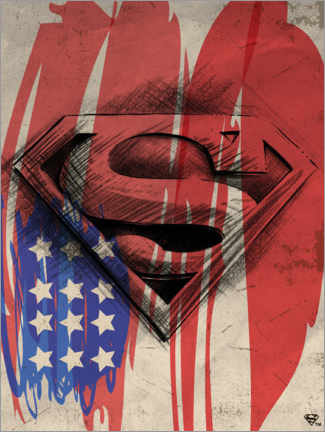Premium-Poster  Superman Shield Sketch