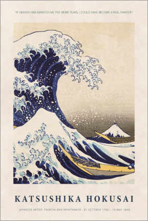 Hartschaumbild  Katsushika Hokusai - Five more years - Museum Art Edition