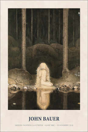 Holzbild  John Bauer - Princess Tuvstarr gazing down - Museum Art Edition