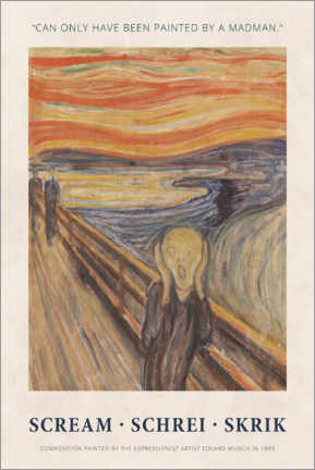 Hartschaumbild  Edvard Munch - The Scream - Painted by a madman - Museum Art Edition