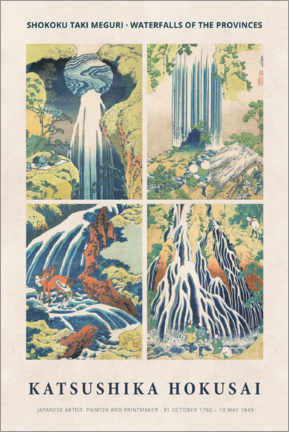 Wandsticker  Katsushika Hokusai - Waterfalls - Museum Art Edition