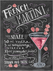 Wandsticker  French Martini Rezept (Englisch) - Lily & Val