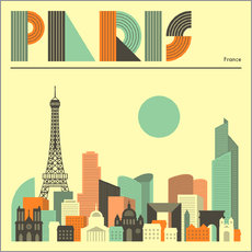 Gallery Print  Paris Skyline - Jazzberry Blue
