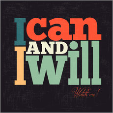 Wandsticker  I can and I will - Typobox