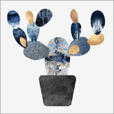Wandsticker  Blue And Gold Cactus - Elisabeth Fredriksson