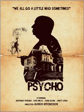 Gallery Print  Psycho movie hitchcock silhouette art - Golden Planet Prints