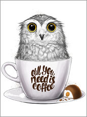 Gallery Print  Owl you need is coffee - Nikita Korenkov