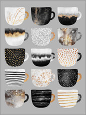 Gallery Print  Pretty Coffee Cups 3   Grey - Elisabeth Fredriksson