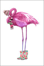 Gallery Print  Rosa Flamingo mit Gummistiefeln - Kidz Collection