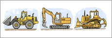Wandsticker  Hugos Baustelle 3-er Set - Hugos Illustrations