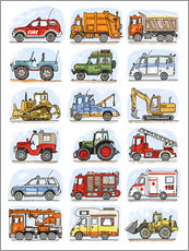Gallery Print  Alle meine Autos - Hugos Illustrations