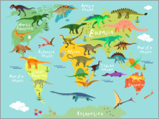 Premium-Poster  Dinosaur Worldmap - Kidz Collection