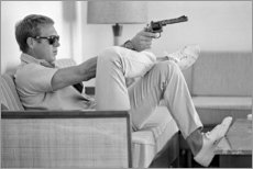 Alubild  Steve McQueen mit Revolver - Celebrity Collection