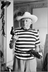Leinwandbild  Picasso mit einem Revolver - Celebrity Collection