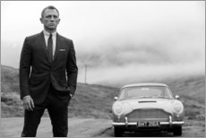 Leinwandbild  Daniel Craig als James Bond, Schwarz/Weiß - Celebrity Collection