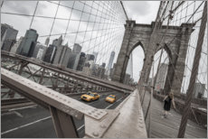 Acrylglasbild  Brooklyn Bridge mit gelben Taxis - nitrogenic