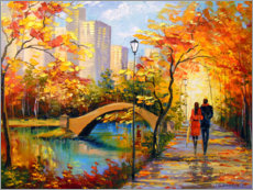 Premium-Poster Herbst-Spaziergang in New York