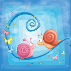 Wandsticker blue snails