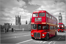 Wandaufkleber  Westminster Bridge and Red Buses - Melanie Viola