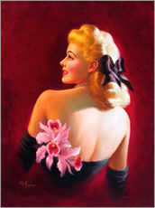 Art Frahm - Glamour Pin Up mit rosa Orchideen