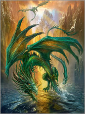 Wandsticker  Drachen am Fluss - Dragon Chronicles