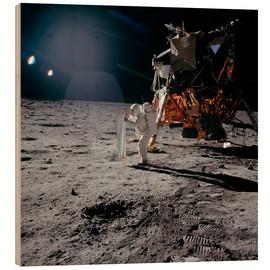 Holzbild  Apollo 11, Moonwalk - Stocktrek Images