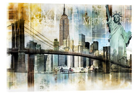 Acrylglas  Skyline New York Abstrakt Fraktal - Städtecollagen