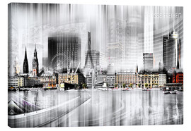 Leinwandbild  Hamburg Skyline SW Abstrakte Collage - Städtecollagen