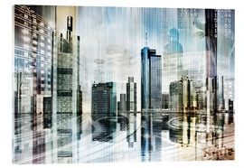 Acrylglasbild  Frankfurter Skyline (Collage), abstrakt - Städtecollagen