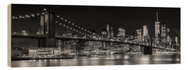 Holzbild  New York City Night Skyline - Melanie Viola