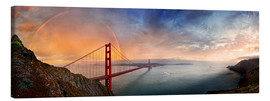 Leinwandbild  San Francisco Golden Gate mit Regenbogen - Michael Rucker