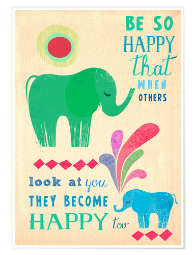 Premium-Poster Happy elephants
