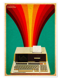 Premium-Poster grandfather computer