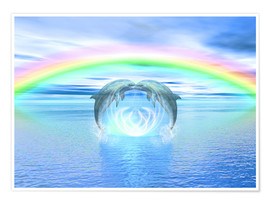 Premium-Poster Dolphins Rainbow Healing