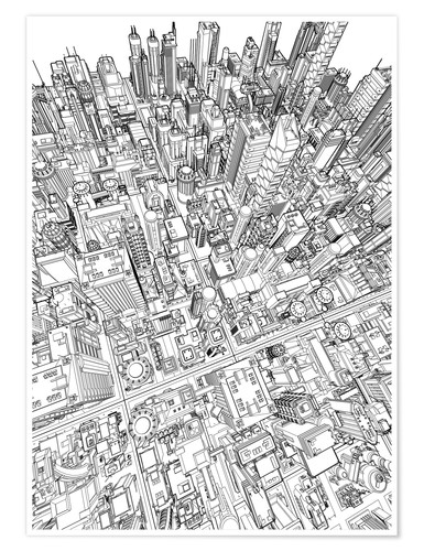 Premium-Poster futurstic city wireframe 3