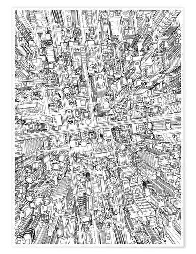 Premium-Poster futurstic city wireframe 4